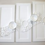 Froth. Lids and acrylic on found wood cabinets. Candace Bradbury-Carlin